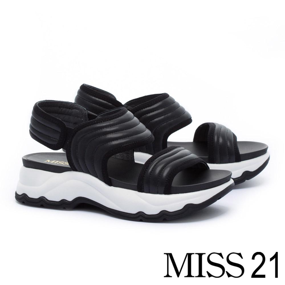 涼鞋 MISS 21 簡約帥感寬版皮革繫帶厚底涼鞋-黑