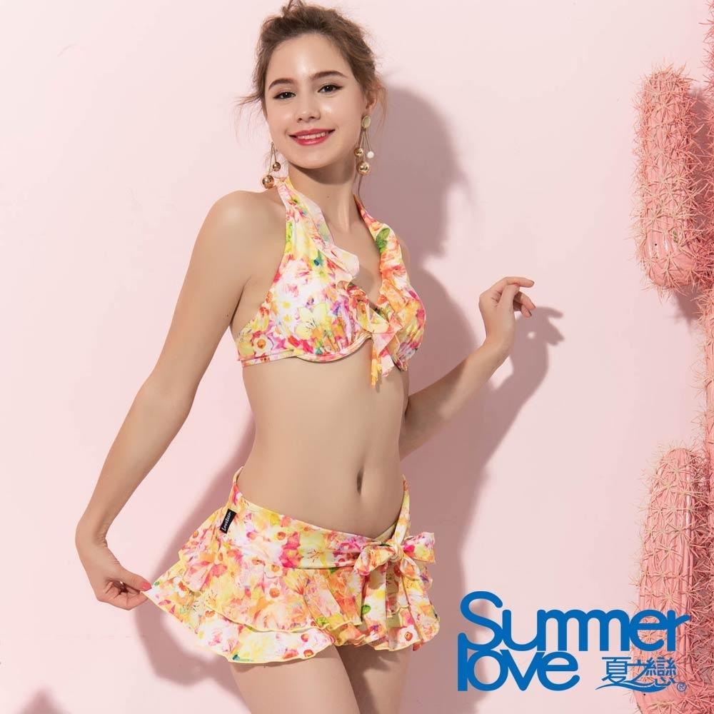 夏之戀SUMMERLOVE 甜美花卉短版三件式泳衣