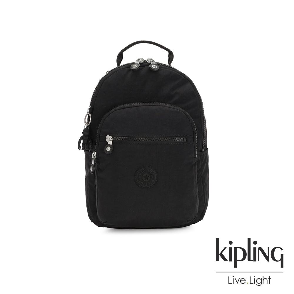 Kipling 經典深黑色機能手提後背包-SEOUL S