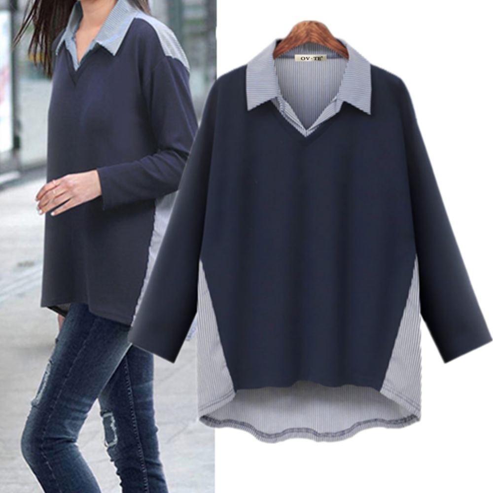 MOCO假兩件條紋襯衫領拼接背部側邊條紋拼接中間素色襯衫L~4XL