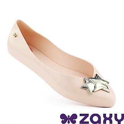 Zaxy 巴西 女 迷人星彩平底尖頭鞋-粉色/金色