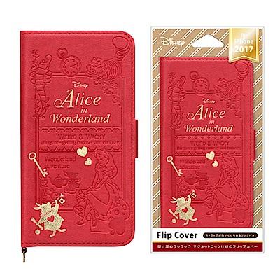 iPhone X 迪士尼 金箔/壓花 側翻式 硬殼 5.8吋 皮套-愛麗絲