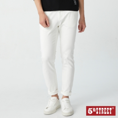 5th STREET 街霸基本款 窄管休閒褲-男-白色