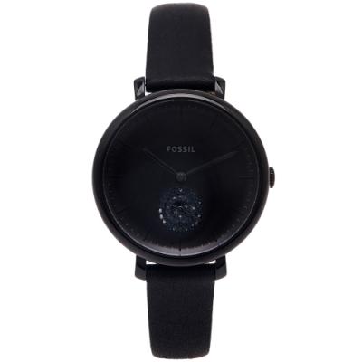 FOSSIL 黑色小秒針盤皮革錶帶手錶(ES4490)-黑面X黑色/36mm