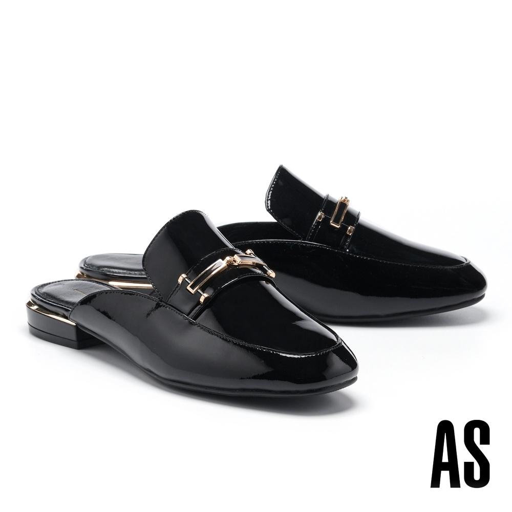 穆勒鞋 AS 摩登時髦滴油金釦全真皮方頭平底穆勒拖鞋-黑