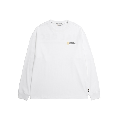 NATIONAL GEOGRAPHIC 男女 Oversize Letter Pattern Long Sleeve Tee 長袖T恤 白-N211UTS901010