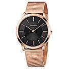 CALVIN KLEIN minimal系列鍍PVD玫瑰金黑面手錶-43mm