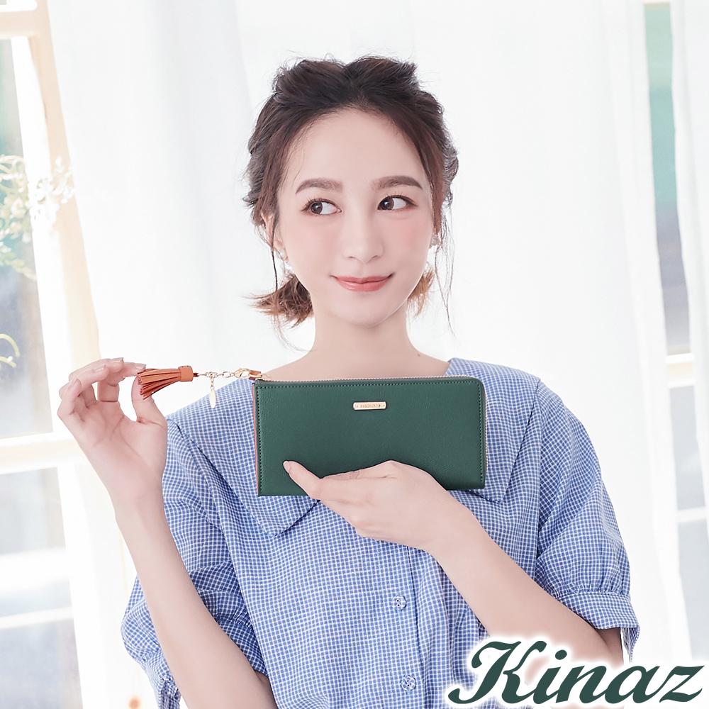 KINAZ 甜蜜驚喜L型拉鍊長夾-薄荷綠-甜心磚系列