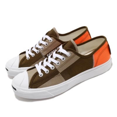 Converse 休閒鞋 Jack Purcell 低筒 男女鞋 開口笑 拼接色塊 情侶穿搭鞋 卡其 咖啡 168976C