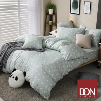 DON 極簡日常 單人四件式200織精梳純棉被套床包組-方格-氣質綠