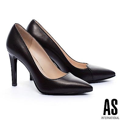 高跟鞋 AS 簡約流線V字純色羊皮美型尖頭高跟鞋-黑