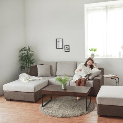 Home-Feeling 北歐風配色L型沙發+腳凳/可折洗(左右可選)