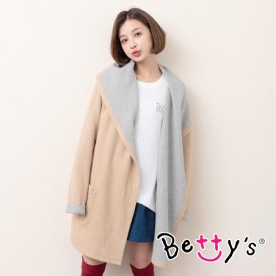 betty's貝蒂思 日雜開襟長版連帽大衣(卡其)
