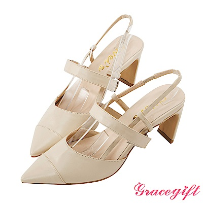 Grace gift X Wei唐葳-拼接尖頭條帶後空設計跟鞋 杏