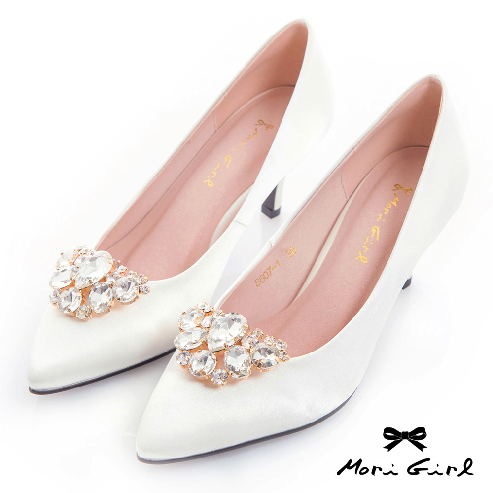 Mori girl 2WAY可拆式水鑽緞面中低跟鞋 白