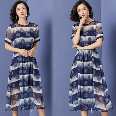 【韓國K.W.】韓國格調短袖洋裝