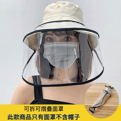 【89 zone】日系防疫防飛沫可拆可摺疊漁夫帽帽帶面罩/遮陽帽面罩-只有面罩不含帽子 (黑)