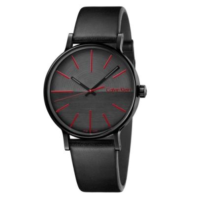 Calvin Klein CK 美式簡約黑鋼皮帶腕錶(K7Y214CY)41mm