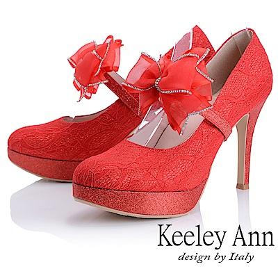 Keeley Ann 優雅迷人~可拆式網紗蝴蝶結腳背帶高跟鞋(紅色)