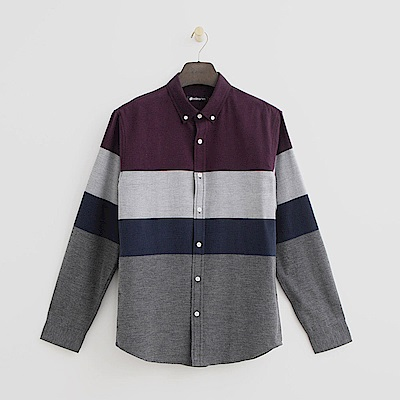Hang Ten - 男裝 - 簡約色塊拼接襯衫-酒紅