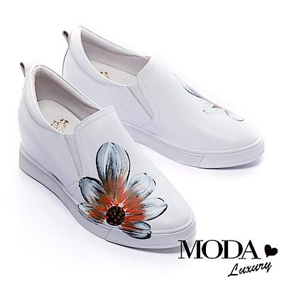 休閒鞋 MODA Luxury 彩色手繪花朵全真皮內增高休閒鞋-白