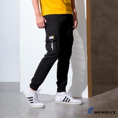 NoMorre 韓版超彈力輕薄側袋印花束口工作褲-黑色