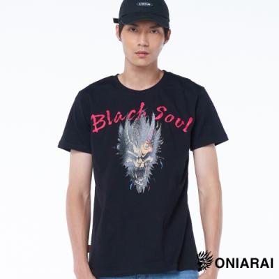 鬼洗 BLUE WAY – BlackSoul爆裂鬼印花短TEE(黑)