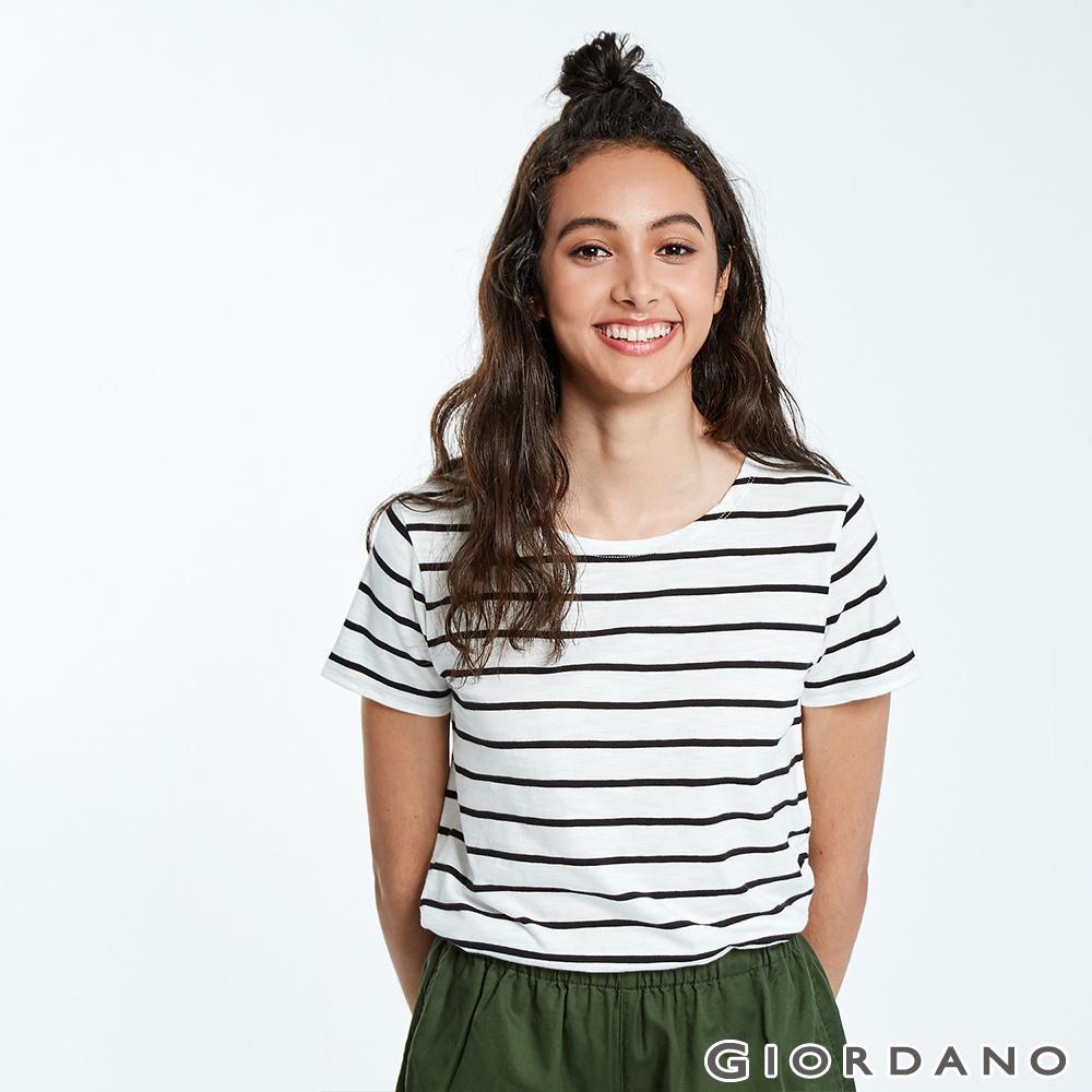 GIORDANO 女裝圓領竹節棉寬版T恤-89 黑白條紋