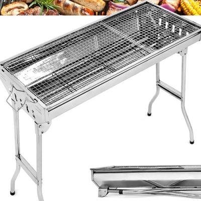 大號高腳不鏽鋼烤肉架  (摺疊燒烤爐.烤肉網爐具.折疊BBQ手提燒烤架子)