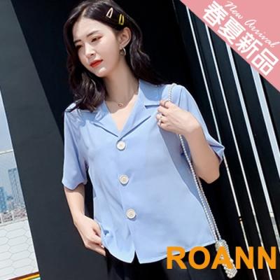 復古V領寬鬆短袖雪紡襯衫 (共二色)-ROANN
