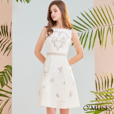 OMUSES 簡約刺繡A-Line洋裝