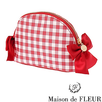 Maison de FLEUR  格紋蝴蝶結緞帶圓形小包