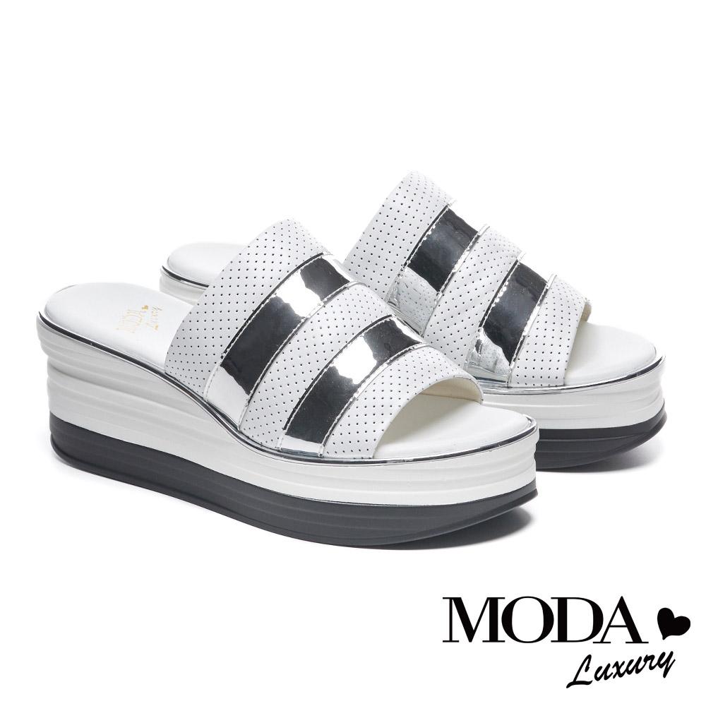 拖鞋 MODA Luxury 個性休閒潮感異材質楔型厚底拖鞋-銀