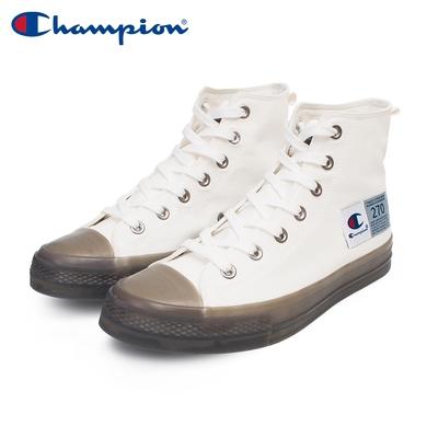 【Champion】男/女 帆布鞋 高筒帆布鞋 JELLY HI-CANVAS -白/灰(USLS-1015-02)