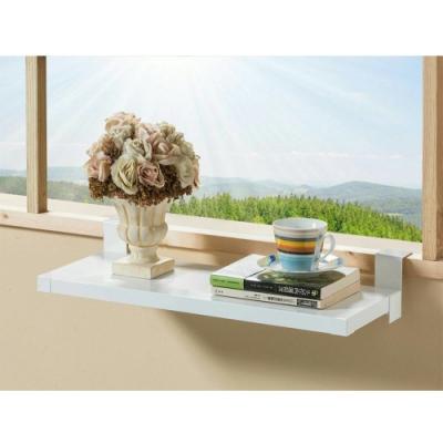 (台灣製造)免鑽牆AB1003WT第二代 加長型窗台掛式多功能置物架白色