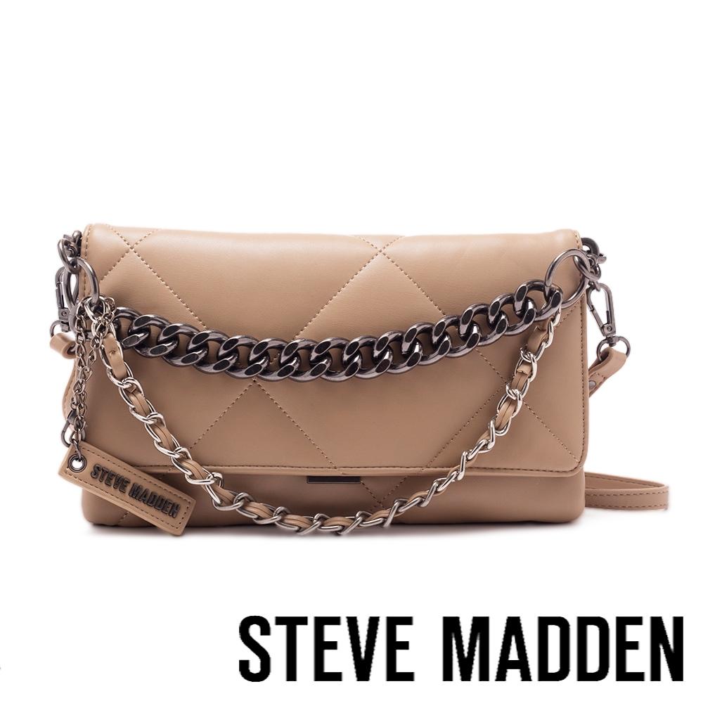 STEVE MADDEN-BCOBBLE 拼接紋金鍊信封包-棕色