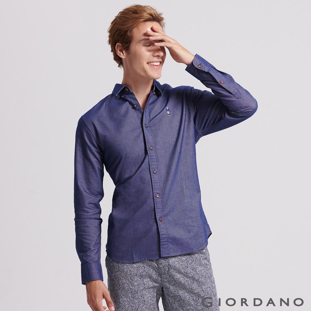 GIORDANO 男裝紳士刺繡牛津紡長袖襯衫-03 深藍