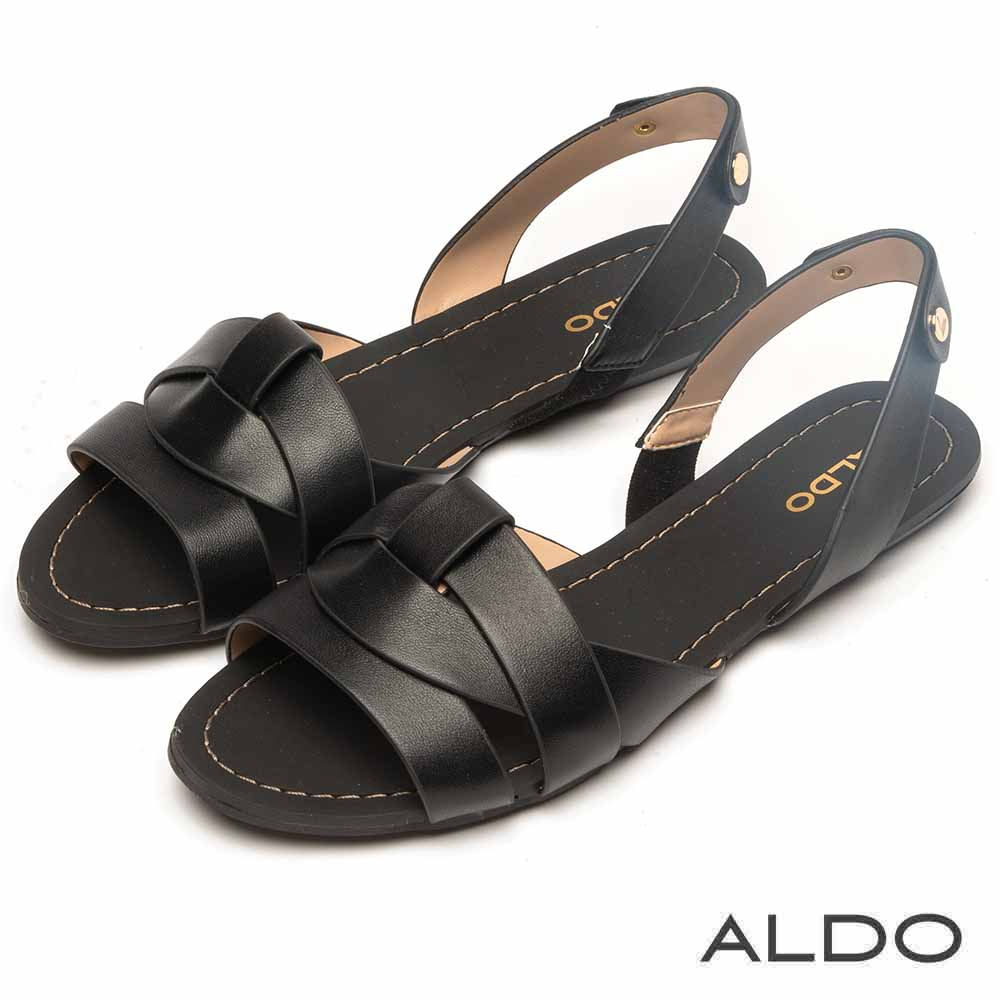 ALDO 原色羊皮鞋面鏤空拉帶式涼鞋~尊爵黑色