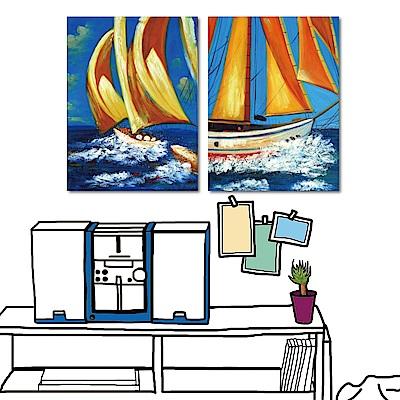 24mama掛畫 兩聯式 油畫無框掛畫-度假帆船30x40cm