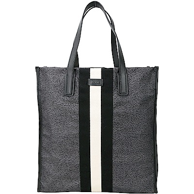 BALLY RAAMI 經典條紋尼龍托特包(黑灰色)