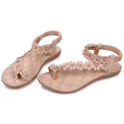 KEITH-WILL時尚鞋館 (現貨+預購) 獨特品味花朵系涼鞋-杏