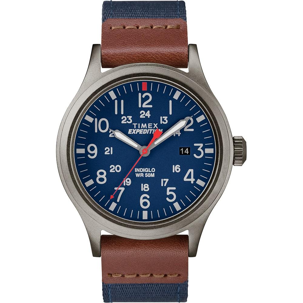 TIMEX 天美時 遠征系列 探險手錶-藍x咖啡/40mm