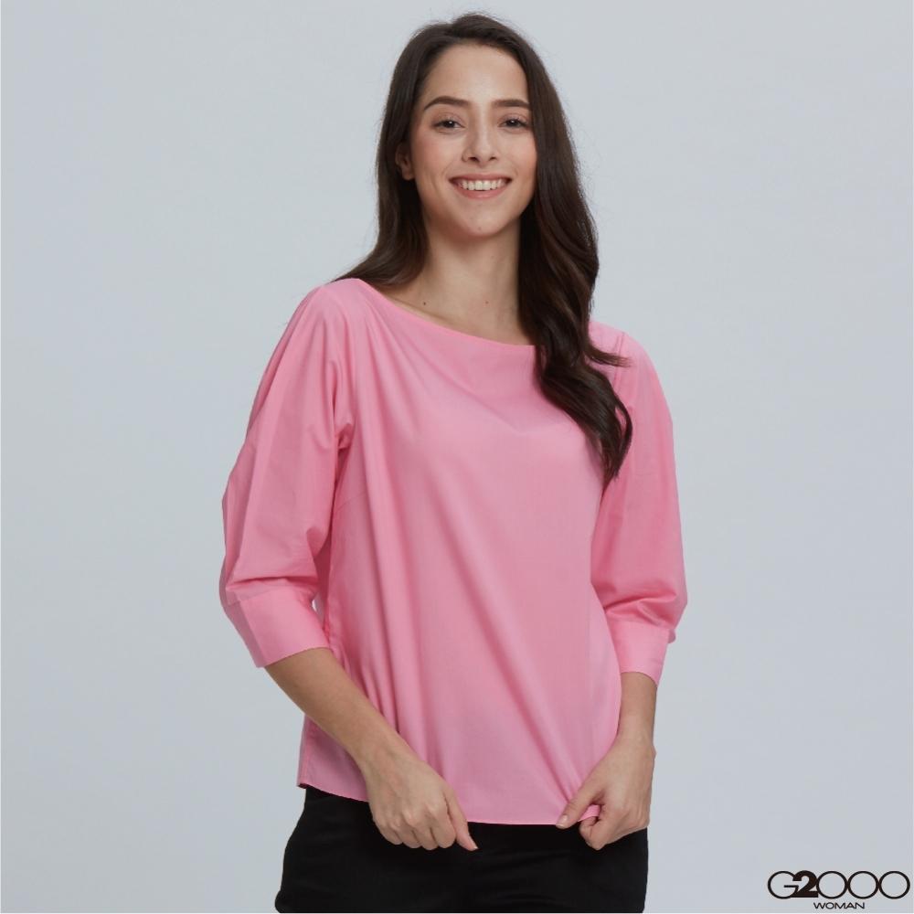 G2000素面長袖休閒上衣-粉紅色