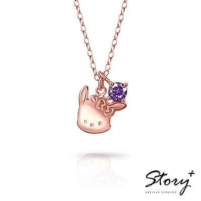 STORY故事銀飾-帕恰狗與HelloKitty 誕生石純銀項鍊