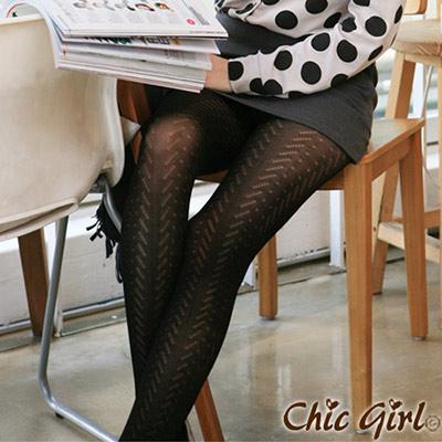 性感透膚連襪絲襪(黑色)-Chic Girl