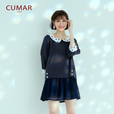 【CUMAR】俏皮拼接點點-襯衫(深藍色/版型適中)