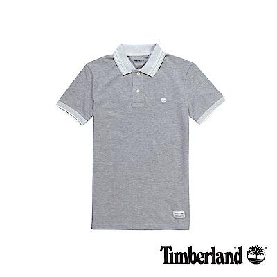 Timberland 男款灰色刺繡LOGO短袖POLO衫