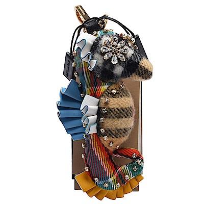BURBERRY Thomas經典格紋海馬造型水鑽鑲嵌皮革飾邊鑰匙圈/吊飾(古典黃X多彩)