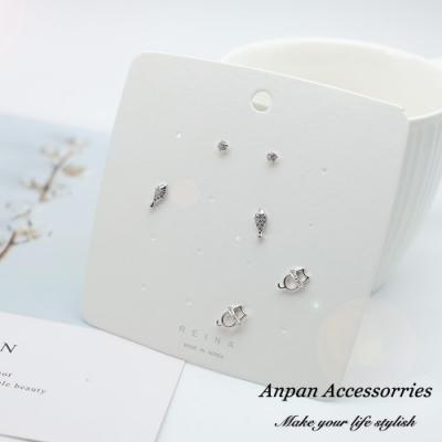 【全館6折ANPAN】925銀針韓東大門可愛貓咪水鑽耳環套組