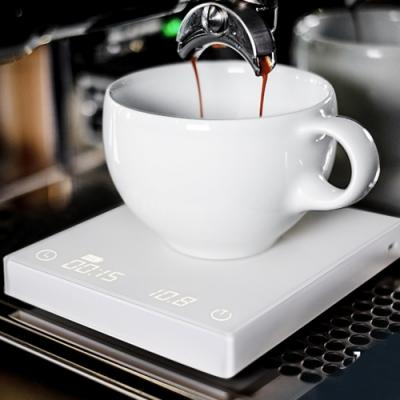 新版TIMEMORE泰摩黑鏡手沖咖啡大師LED觸控秤重計時電子秤 -白 (可充電) (自動沖煮計時)(杯測計時)